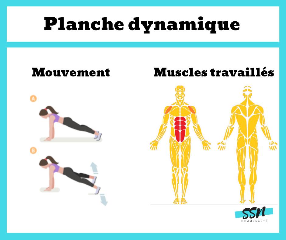 Exercice abdominaux/transverse de la planche dynamique en musculation